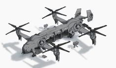A design-Concept for a Quad-Rotor transport aircraft, done as practice. The artist got inspired to do this after seeing a model of something similar, but wanted to have a realistic take on it. Flying Vehicles, Army Vehicles, Armored Vehicles, Concept Ships, Concept Cars, Game Concept, Starship Concept, Spaceship Art, Future Weapons
