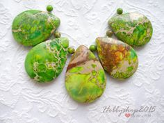 Natural beads teardrop stone Natural green beads for necklaces and earrings in the form of drops of tears jasper