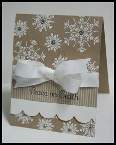 Peace on Earth Christmas card ~ stamped snowflakes, ribbon and sparkly gems
