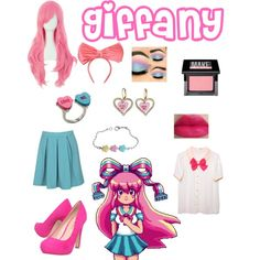 Giffany from Gravity falls by zamantha-palazuelos on Polyvore featuring polyvore, fashion, style, Boohoo, Miss KG, Betsey Johnson, Federica Moretti and Make