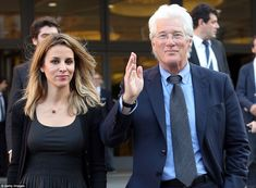 Richard Gere and his girlfriend Alejandra Silva leave at the end of 'Un Muro o Un Ponte' Seminary which was hosted by the pope