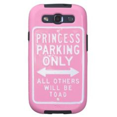 "Funny, trendy, elegant and pretty Samsung Galaxy S3 case. Funny pastel pink street sign with ""Princess Parking Only All Others Will Be Toad"" text. For the girly girl, or the woman who has a great sense of humor and who loves a good joke. Cute and fun present for mom's birthday, Mother's day, or  Christmas holiday stocking stuffer. Classy, chic and cool phone cover for the elegant pink loving woman. Also for iPod 4 5G, iPhone 3 4 5 5C, Samsung Galaxy S2 S4, iPad 2 3 4, Droid Razr, etc."