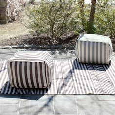 Fresh American Trimaran Stripe Charcoal and Ivory Indoor/Outdoor Pouf