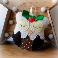 Felt Figgy Pudding Owl Decoration. by PollyChromeCrafts on Etsy