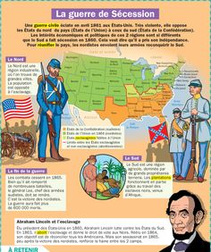 Infografía educativa: Infografía educativa y visualización de datos La guerre de Sécession Infographic . French Class, French Lessons, Teaching French, Teaching English, French History, World History, American History, How To Speak French, Activities For Kids