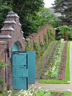 Walled kitchen garden at Kylemore, Connemara, County Galway, Ireland Garden Doors, Garden Gates, Portal, Gray Garden, Victorian Gardens, Victorian Era, My Secret Garden, Parcs, Edible Garden