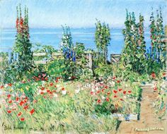 Hollyhocks, Isle of Shoals Artwork by Frederick Childe Hassam Hand-painted and Art Prints on canvas for sale,you can custom the size and frame