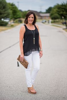 How to style a layered tank for a classic black and white summer outfit