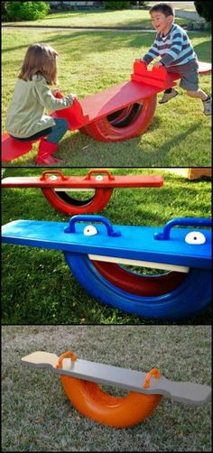 Build your kids their very own tire seesaw!ideas… This DIY proj… Build your kids their very own tire seesaw!ideas… This DIY project is a very great alternative to the usual, metal seesaws you can buy. A tire teeter totter is Kids Outdoor Play, Backyard For Kids, Diy For Kids, Kids Fun, Garden Kids, Garden Crafts, Tyre Ideas For Kids, Garden Projects, Diy Summer Projects