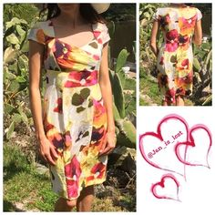 "Watercolor Dress 4 Isabella DeMarco for Tahari Levine rayon dress.  Measures 38"" long.  Back hidden zipper fully lined.  18 1/2"" from pit to pit. 15 1/2"" across the stomach.  Worn twice light pillion on the but area.. Just saw it as I was folding priced to sell still great dress for the price, not that noticeable. Isabella DeMarco for Tahari Levine Dresses"