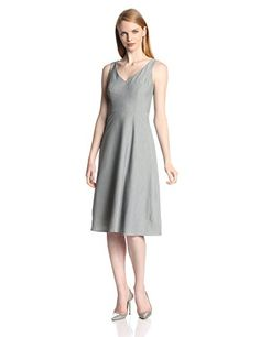 Isaac Mizrahi New York Women's Stretch V Neck Fit and Flare Dress, Gray, 16