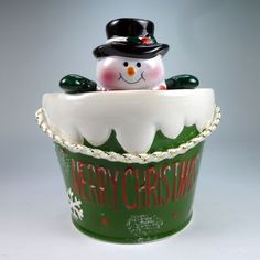snowman candy bowl trinket dish 6 inch ceramic figurine christmas decor