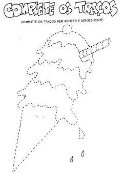 Sugestões de desenhos pontilhados para trabalhar a coordenação motora fina. Lembrando que essas vivências são importantes serem passadas de forma ampla, como por exemplo caminhar em cima de cordas seguindo o traçado, desviar de objetos, entre outros.