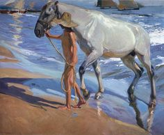 Joaquin Sorolla y Bastida El bano del caballo [The Horse's Bath] painting is shipped worldwide,including stretched canvas and framed art.This Joaquin Sorolla y Bastida El bano del caballo [The Horse's Bath] painting is available at custom size. Painted Horses, Spanish Painters, Spanish Artists, Arte Equina, Google Art Project, Oil Painting Reproductions, Equine Art, Claude Monet, Horse Art