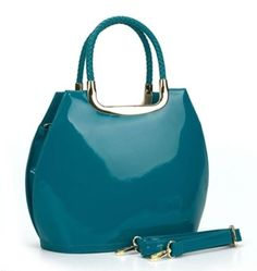 Teal Blue/Green  Patent Tote Shoulder Grab Hand Bag Simulated Leather New SS17