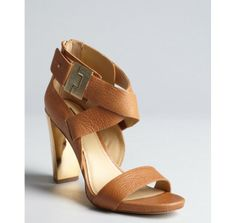 Rachel Zoe Camel Leather and Gold Metal Brooklyn Stacked Heel Sandals in Brown (camel) | Lyst