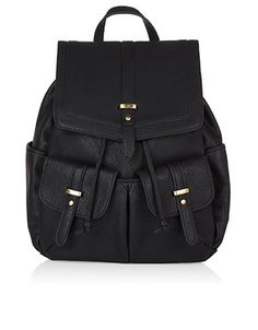 This vintage-inspired, leather-look backpack has a generous interior that can easily hold large essentials, while two front and two side pockets are ideal for smaller items. Adjust the straps to find the right fit.