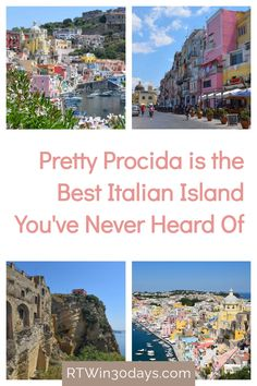 Italy is known for some pretty amazing islands. But the cotton-candy-colored island of Procida is one of its best. Located just off the coast of Naples Italy, the tiny island of Procida is pure Italian charm without the crowds (or prices) of its neighbors around the Amalfi Coast. Forget the glitz of Capri and stroll the pastel storefronts of the authentic fishing village of Procida. Here's everything you need to know the plan your perfect dream vacation to the Italian island of Procida. Best Romantic Getaways, Romantic Destinations, Romantic Travel, Travel Destinations, Seaside Village, Seaside Towns, Italy Vacation, Italy Travel, Naples Italy