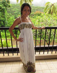 cd55f76413 Hawaiian Leafy Hibiscus Smocked Ivory Maxi Dress - Made In Hawaii -. Tube  Top ...