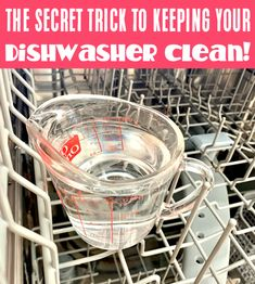How to Clean Dishwasher Buildup and Smell! When was the last time you cleaned your dishwasher? Soap scum, grime, streaks and smells can take over. So take some time to try this EASY diswashing trick this week... it works like a charm! Cleaning Your Dishwasher, Diy Home Cleaning, Dishwasher Soap, Household Cleaning Tips, House Cleaning Tips, Green Cleaning, Spring Cleaning, Cleaning Hacks, Dishwasher Cleaner