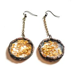 Circle Earrings Golden, $32, now featured on Fab. By Heron and Lamb
