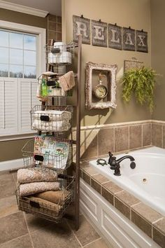 20+ Neat And Functional Bathtub Surround Storage Ideas. Brown Bathroom ...