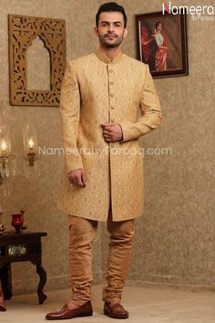 Buy Men's Sherwani-Latest Sherwanis Pakistani for Wedding Online-Men's Wear With Zari, Embroidery, Patch Work In USA, UK, Canada, Australia Visit Now : www.NameerabyFarooq.com or Call / Whatsapp : +1 732-910-5427 Mens Sherwani, Wedding Sherwani, Work In Usa, Wedding Online, Yellow Fabric, Cotton Silk, Dress Making, Party Wear