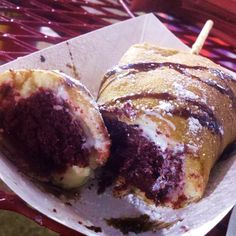 Deep Fried Red Velvet Cake with Cream Cheese Frosting @ Houston Livestock Show And Rodeo  Reliant Houston , Tx