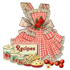 Vintage pie baking illustration  #cherries  #gingham  #apron