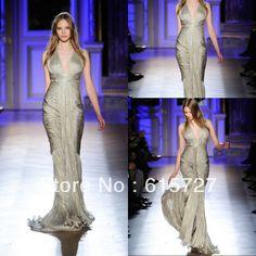 2014 Zuhair Murad Evening Dress Mermaid Shinning Grey Ruched Draped V Neck Cut Out Vestido De Festa Longo Prom Long Party Gown