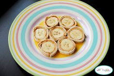 PB and Banana coins- banana rolled up in a tortilla with pb on it