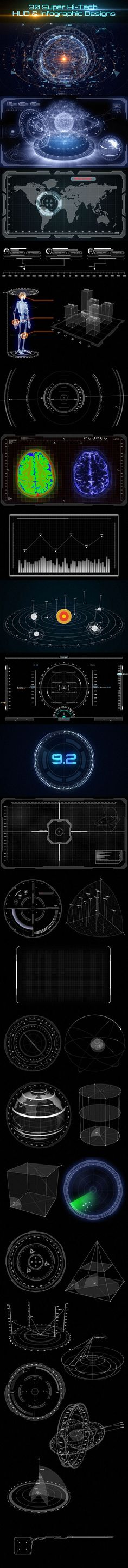 https://www.behance.net/gallery/24048515/30-Super-Hi-Tech-HUD-Infographic-Designs