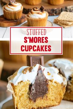 Stuffed S'mores #Cupcakes #Recipe with Toasted Marshmallow Frosting #Smores