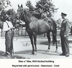 Man o' War, March 29, 1917, Nursery Stud farm, Lexington, Kentucky is considered one of the greatest Thoroughbred racehorses of all time. During his career just after World War I, he won 20 of 21 races and $249,465 in purses.  Among Man o' War's famous offspring were  War Admiral, the 1937 Triple Crown winner and the second official Horse of the Year.  His offspring, Hard Tack, sired Seabiscuit. Man o' War died on 1 November 1947 at age 30 of an apparent heart attack.