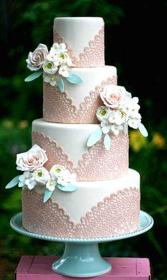 Vintage Wedding Ideas - Lace wedding cake...