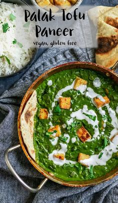 Vegan Palak Tofu Paneer Cheesy tofu is fried until golden and smothered in a creamy spiced spinach gravy in this veganized version of the Indian dish palak paneer. This gluten free recipe is easy to make and sure to impress! Spinach Recipes, Tofu Recipes, Vegetarian Recipes, Cooking Recipes, Healthy Recipes, Healthy Food, Vegan Indian Recipes, Indian Food Vegetarian, Comida India