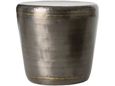 Round iron side table of darkened silver with brass accents finish.