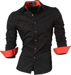jeansian Herren Freizeit Hemden Shirt Tops Mode Langarmshirts Slim Fit MFN_2028: Amazon.de: Bekleidung