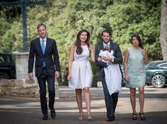 (L to R) Felix Lademacher, Princess Claire of Luxembourg, Prince Felix of Luxembourg and Princess Alexandra of Luxembourg pose with their daughter Princess Amalia of Luxembourg before her Christening ceremony, at the Saint Ferreol Chapel in Lorgues on July 12, 2014 in Lorgues, France.