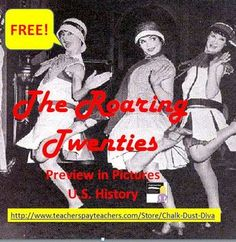 FREE! The Roaring Twenties Preview in Pictures Power Point Presentation. #Lesson Plans U.S. History Teaching. 1920's