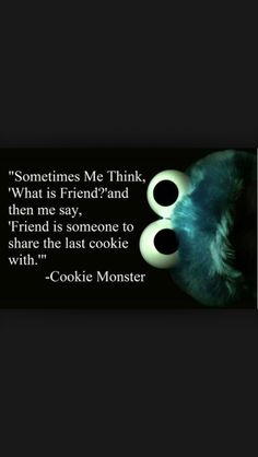 "Sometimes Me think ""What is friend?"" and then me say ""Friend is someone to share the last cookie with - Cookie Monster"