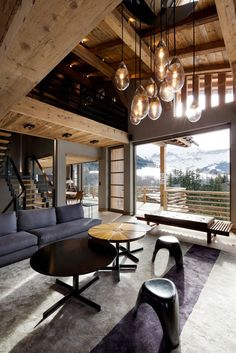 ♂ Masculine interior design living room space Clean, simple furnishings define the main living space. French Alps Mountain Chalet Cyanella by Bo Design