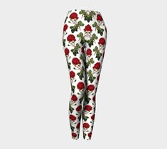 Rose Leggings, Leggings by Brittany Bonnell. Printed leggings with compression fit performance fabric milled in Montreal Shop Art, Design Lab, Printed Leggings, Workout Leggings, Brittany, Pajama Pants, Vibrant, Rose, Fabric