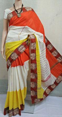Pure cotton Handloom khes saree with kalamkari border Ethnic Outfits, Indian Outfits, Elegant Fashion Wear, Trendy Fashion, Cotton Saree, Silk Sarees, Kalamkari Fabric, Saree Styles, Cool Style