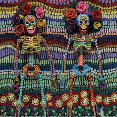 """from @carongallery -  Here's another new piece from Elayne Goodman! Love the title on this one """"Long Marriage"""" there's no telling how many hours she put into this piece. They allude to the Spanish sugar skulls and colorful festivals!  #mytupelo #carongallery #downtown #art #artgallery #tupelo #mississippi #mississippiart #mississippiartist #originalart #south #southern #decor #interiors #interiordecorate #fineart #sugarskull #skeleton #sugar #skull #spanish #folkart #folk #art #mixedmedia…"""