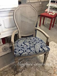 Beautiful chair updated with new fabric and CeCe Caldwell's Chalk + Clay Paint in Young Kansas Wheat. Armchair, Clay Paint, Diy Pins, Furniture Making, Furniture Makeover, Painted Furniture, Kansas, Gifs, Rest