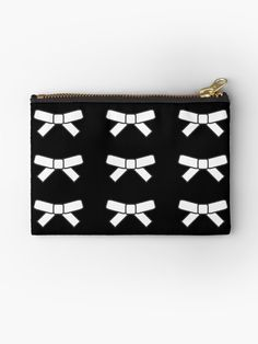 White Bows Zipper Pouch | Elke + Blue collection by MeetMinnie #fashion #accessories #bag #blackandwhite #party #bows