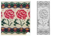 Жаккардовые узоры с цветами - схемы