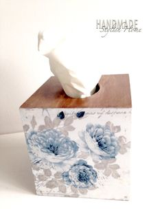 amazing shabby chic blue and grey roses wooden tissue box cover by HandmadeStylishHome