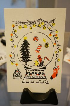 """Christmas Snow Dome"" Color: Red, Black,Yellow Size: 140 x 100 I want a snow dome like this!! http://dear-dulcinea.blogspot.jp"